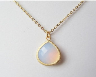 Violet Opal Necklace | Opal Necklace | Opal Pendant on a Gold Chain | October Birthstone Necklace