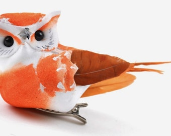 ONE Artificial Decorative ORANGE Brown Feather Owl on Clip - Craft Embellishment - Home Decor