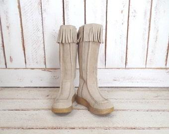 Tan suede leather fringe tall wedge boots/ligt brown knee high fringe boots/boho festival boots