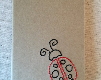 Hand Embroidered Moleskine Notebook - Ladybug