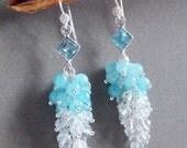 Aquamarine Gemstone Cluster Earrings Ombre Dangle Earrings on Sterling Silver March Birthstone