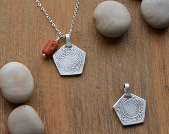 Made To Order - Antique Yemen Coin Pendant in Sterling Silver ethnic world