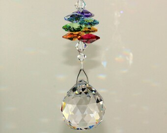 BIG RAINBOW MAKER Suncatcher - Swarovski Chakra 7 Healing Colors Crystal Octagons & Fine Crystal Ball Ornament Car Charm Pearl Place N More