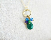 Gold Filled Gemstone Necklace. Birthstone Jewelry. Cluster Green Chalcedony Gemstone Teardrop. Beaded Gold Circle Drop Necklace