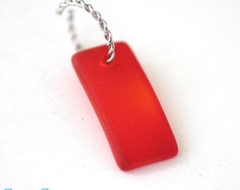 Custom Order for CGlassCreations - Red Sea Glass Rectangle Beads. 20 Pieces of 22x11mm Fig Red Bead // B05SR