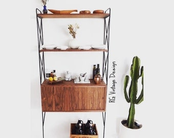 """36"""" Modernist Wall Unit Shelving System with Floating Credenza / Multifunctional"""