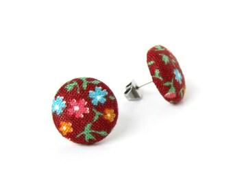 Bright fall earrings - brown button earrings - vintage style fabric earrings -  floral stud earrings - blue pink orange
