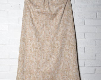 Vintage Gold Beige Maxi Metallic Print Skirt 50's