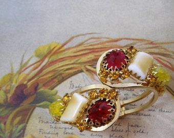 JULIANA Large Rhinestone Clamper Bracelet Earrings Set