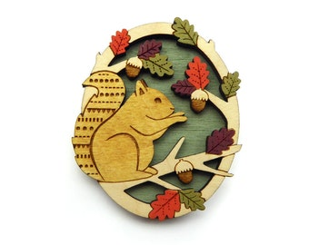 Hungry squirrel brooch ~ hand painted laser cut brooch