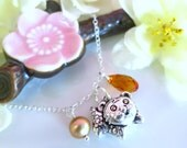 Puffy tiger zodiac charm cherry blossom Swarovski crystal necklace, Chinese tiger mascot charm silver necklace
