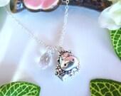 Puffy ox zodiac charm cherry blossom Swarovski crystal necklace, year of the ox sterling silver charm necklace. cow sterling silver charm