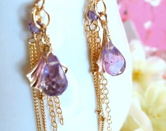 Purple amethyst gold shell tassle dangle earrings, gold shell tassle earrings, february birthstone purple shell dangle earrings