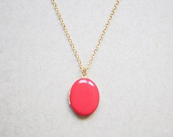 Women's Gold Locket - Tangerine Charm Necklace