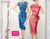 Vintage Pattern Simplicity 3504 Bombshell wiggle dress 1950s Bust 34 Medium Rockabilly Retro blouson tie waist kimono sleeves