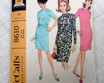McCall's 8610 vintage sewing Pattern shift dress sack dress 1960s Mad Men 1966 Shift three quarter sleeves Bow Bust 34 36