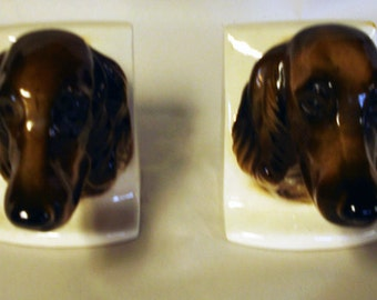 Pair of Antique Irish Setter or Silky Dachshund Brown and White Ceramic Bookends
