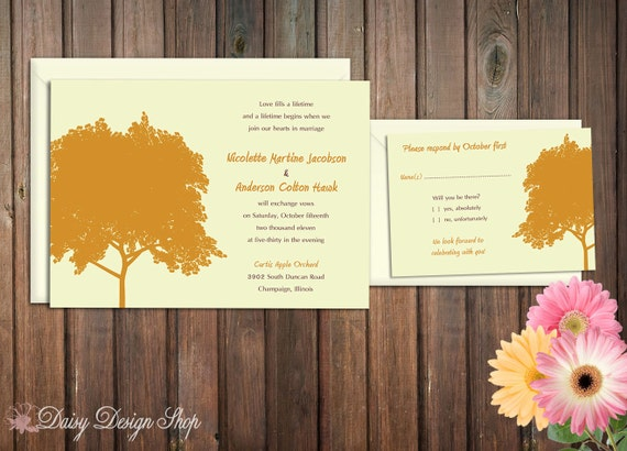 Wedding Invitation - Tree in Autumn Silhouette Seasonal - Invitation and RSVP Card with Envelopes