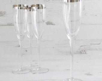 Vintage Silver Champagne Drinking Glasses - Mad Men flute Long Stem Barware Summer Glassware Serving Home Decor