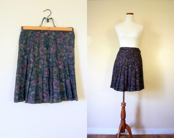 Vintage Skirt / 80's Floral Pleated Skirt / Small