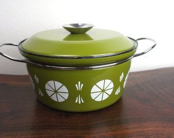 "Vintage Green Cathrineholm Medium 8.5"" Dutch Oven, White Viking Design, Casserole 8.5"", Enamelware Pan With Lid and Handles, Norway 180011"