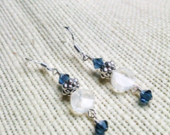 Crystal and Moonstone Dangle Earrings - CADENCE