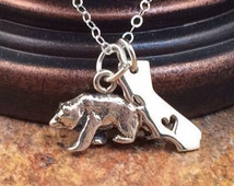 California Necklace, California Bear Necklace, California Sterling Silver Necklace, California Bear, California Republic