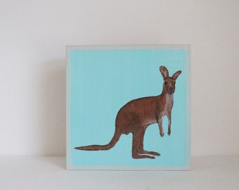 kangaroo art for nursery - australia- 5x5 art block-  blue kids room art- decor for baby- nursery wall art, nursery decor, animal prints