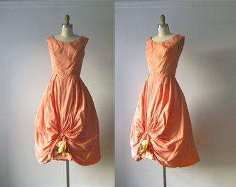 vintage 1950s dress / 50s dress / Coral Rose