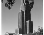 Pittsburgh Art University of Pittsburgh Digital Print Cathedral Gorilla Art Ape Alternate Histories Geekery Black and White King Kong