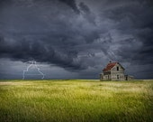 Thunder and lightning storm by an Abandoned Farm House on the Prairie No.03 - A Nature Landscape Photograph
