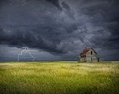 Thunder and Lightning Storm by an Abandoned Farm House on the Prairie Panorama No.03 - A Nature Landscape Photograph