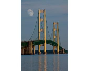 Mackinac Bridge with Moon by the Straits of Mackinac between Lake Michigan and Lake Huron No.1252 A Fine Art Seascape Photograph
