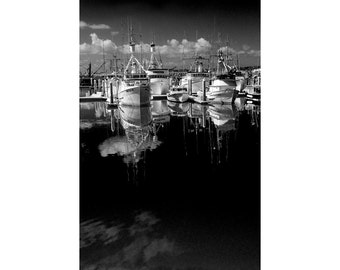Anchored Boats in the Harbor at San Diego California No.1612 A Black and White Fine Art Boat Seascape Photograph