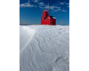 Big Red Lighthouse in Winter on Lake Michigan by Ottawa Beach State Park in Holland Michigan No.0293 A Fine Art Seascape Photograph