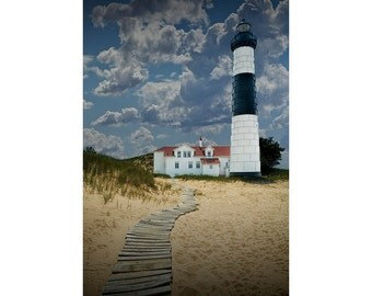 Big Sable Lighthouse on the Lake Michigan Shore at the State Park in Ludington Michigan No.4 A Lighthouse Seascape Vertical Photograph
