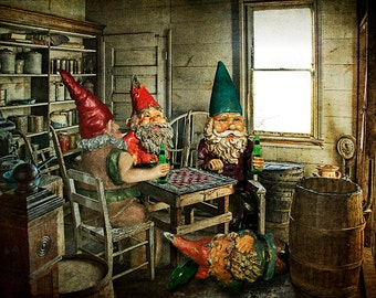 Garden Gnomes Playing Checkers in the Back Room with Brew in Hand a Surreal Fantasy Photograph No.3105OL