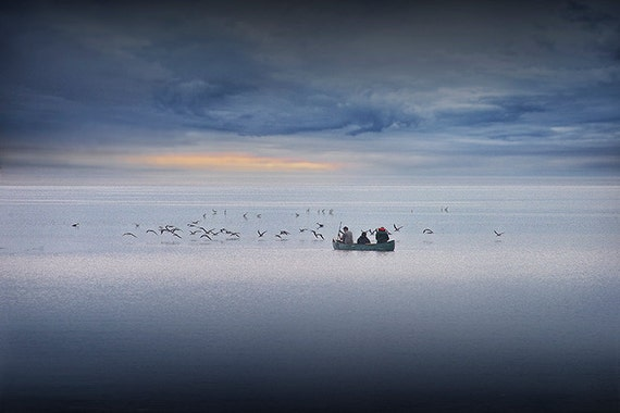 Fishermen in a Boat and Flock of Birds at Sunrise in Florida Bay by Flamingo in the Florida Everglades National Park - A Fine Art Photograph