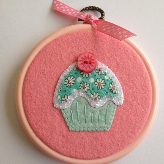 Sparkly Mint Green and Pink Cupcake Hoop Art Home Decoration  Wall