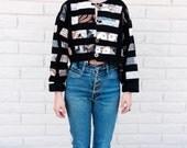 90s Indonesian Patchwork Denim Bolero Jacket/// size Small/Medium