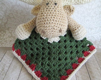 Monty the Moose Crochet Moose Lovey Security Blanket, Baby Boy Moose Security Blanket