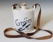 Wedding Flask, For the Groom, Rustic Flask in Porcelain, Indigo blue and white flask for weddings
