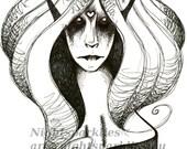 4x6 Printed Postcard, Fantasy Art, B&W Art, Magical, Mystical, Dark, Dark Art, Fallen Angel, Angel, Demon