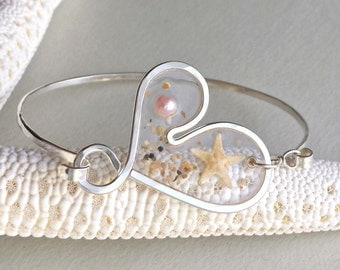 Sterling Silver Heart Bangle, Gold Beach Bangle, Starfish Bracelet, Resin Bangle, Hawaiian Bracelet, Starfish Bangle, Starfish Cuff