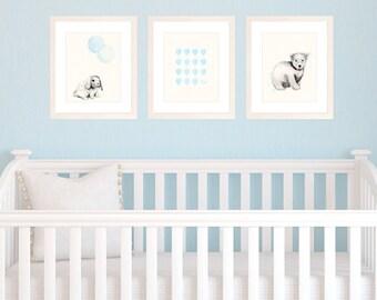 Set of 3 8x10 / A4 Prints for Baby Boy Nursery, Light Blue Themed Decor, Watercolour Illustration of Polar Bear, Bunny, Hot air Balloons