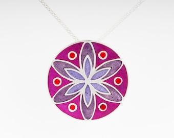 Sterling Silver and Resin Mandala Pendant:Resinate Sterling Silver Mandala Pendant Pinks