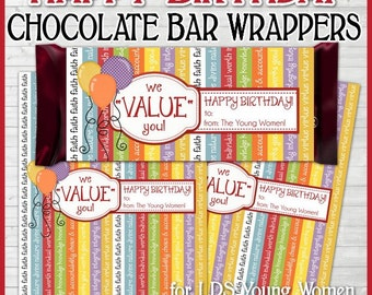 YW BIRTHDAY Chocolate Bar Wrappers, LDS Young Women, Personal Progress Themed, Values - Printable Instant Download