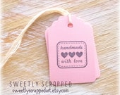 HANDMADE With LOVE Pink Tags ... Hearts, Gift Tag, Packaging, Stitched Outline