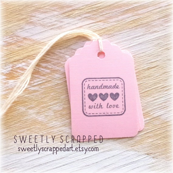 HANDMADE With LOVE Pink Tags ... Hearts, Gift Tag, Packaging, Stitched Outline, SALE