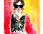 Fashion art print, fashion illustration, fashion print, fashion illustration fashion art, ink drawing, wall art